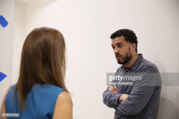 Director Ezra Edelman and moderator Anna Katherine Clemmons are seen backstage at the 'OJ Made in America' screening and QA at Vinegar Hill Theatre...