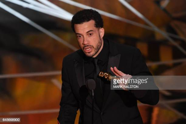 US director Ezra Edelman delivers a speech on stage after he won the Best Documentary Feature award for 'OJ Made In America' at the 89th Oscars on...