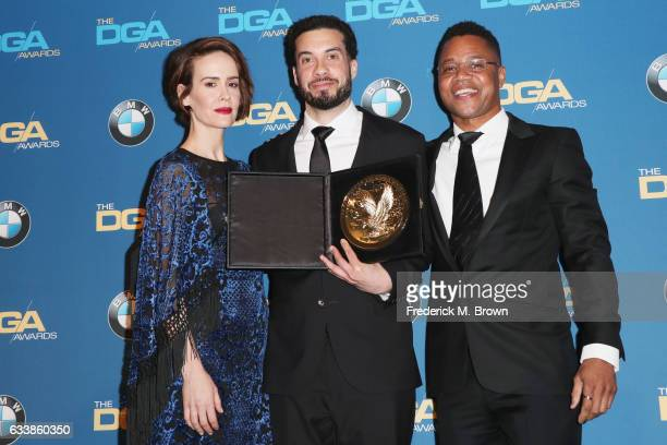 Director Ezra Edelman winner of the Outstanding Directorial Achievement in Documentary for 'OJ Made in America' poses with actress Sarah Paulson and...