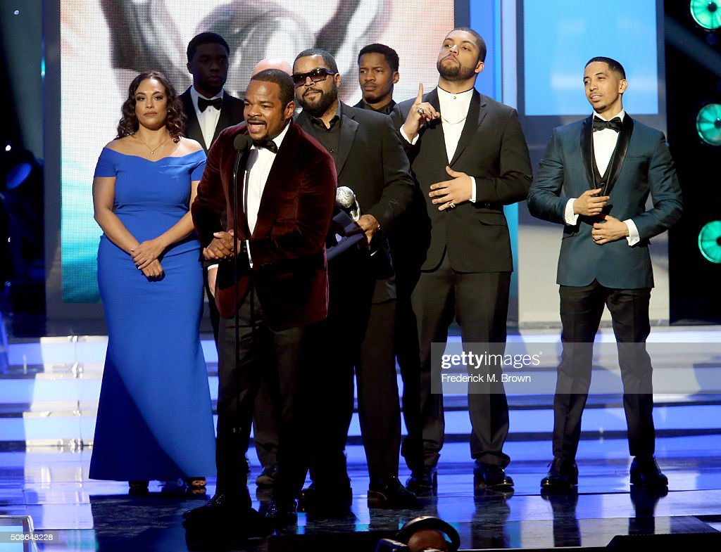 Director F. Gary Gray accepts award for Outstanding Motion Picture for 'Straight Outta Compton' with cast onstage during the 47th NAACP Image Awards presented by TV One at Pasadena Civic Auditorium on February 5, 2016 in Pasadena, California.