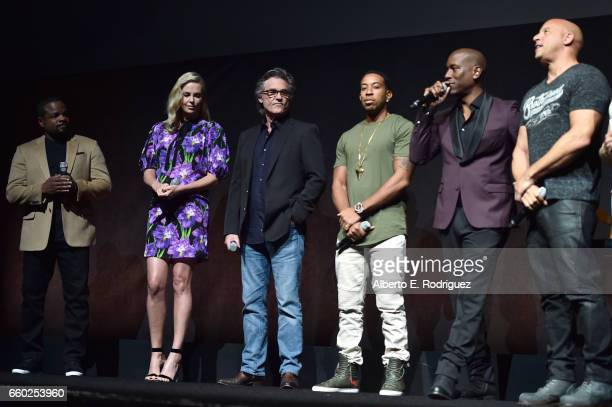 Director F Gary Gray actors Charlize Theron Kurt Russell Ludacris Tyrese Gibson and Vin Diesel speak onstage at CinemaCon 2017 Universal Pictures...