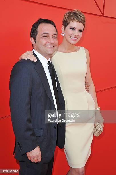 Director Fabrizio Cattani and actress Andrea Osvart attend the 'Maternity Blues' premiere during the 68th Venice Film Festival at Palazzo del Cinema...