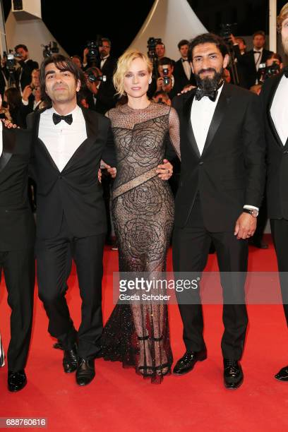 Director Fatih Akin Diane Kruger and Numan Acar attend the 'In The Fade ' screening during the 70th annual Cannes Film Festival at Palais des...