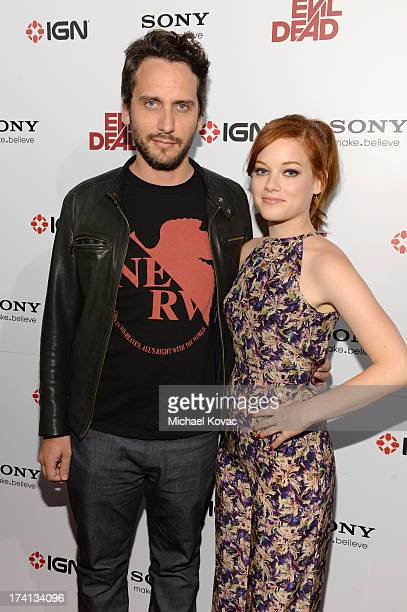 Director Fede Alvarez and actress Jane Levy attend Sony Pictures Home Entertainment and Evil Dead Bluray Fan Party At Comic Con 2013 at The Commons...