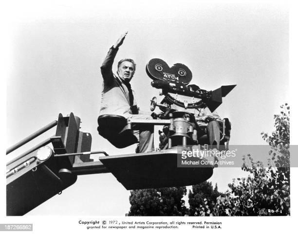 Director Federico Fellini behind the scenes of the United Artist movie 'Fellini's Roma' in 1972