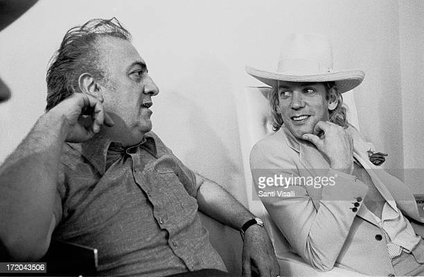 Director Federico Fellini talking to Actor Don Sutherland on May 201975 in Rome Italy
