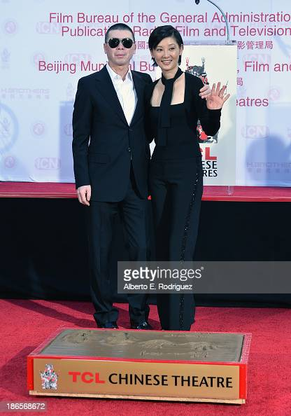 Director Feng Xiaogang and actress Xu Fan attend a ceremony immortalizing director Feng Xiaogang with a hand and footprint at TCL Chinese Theatre...