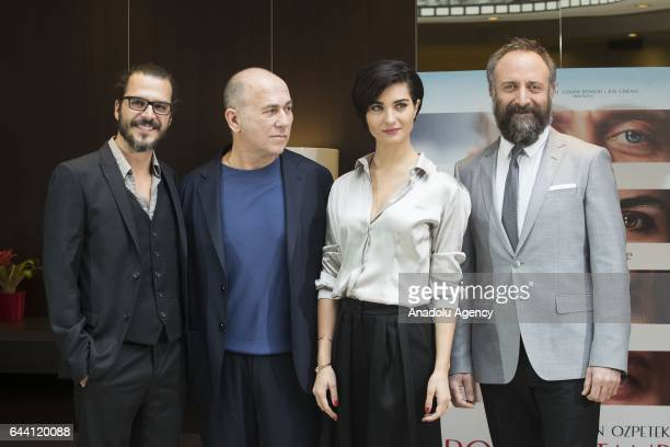 Director Ferzan Ozpetek actor Mehmet Gunsur actress Tuba Buyukustun and actor Halit Ergenc attend the photocall of the movie 'Rosso Istanbul' at the...