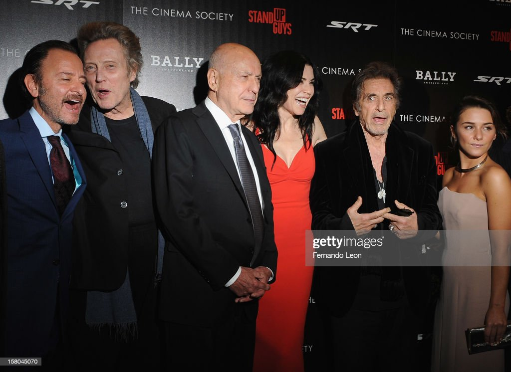 Director Fisher Stevens with actors Christopher Walken, Alan Arkin, Julianna Margulies, Al Pacino and Addison Timlin attend the premiere of 'Stand Up Guys' hosted by The Cinema Society with Chrysler and Bally at MOMA on December 9, 2012 in New York City.