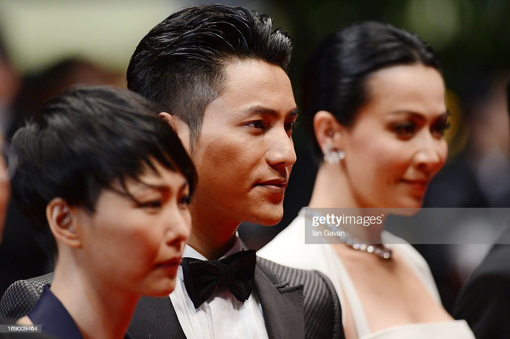 Director Flora Lau, actor Chen Kun and actress <a gi-track='captionPersonalityLinkClicked' href=/galleries/search?phrase=Carina+Lau&family=editorial&specificpeople=663580 ng-click='$event.stopPropagation()'>Carina Lau</a> attend the 'Bends' Premiere during The 66th Annual Cannes Film Festival at the Palais des festivals on May 18, 2013 in Cannes, France.