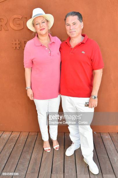 Director FlorentEmilio Siri and his Wife Fleur attend the French Tennis Open Day Fourteen at Roland Garros on June 10 2017 in Paris France