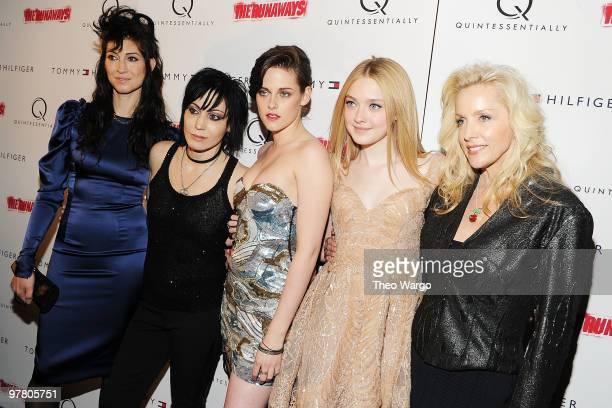 Director Floria Sigismondi musician Joan Jett actress Kristen Stewart actress Dakota Fanning and musician Cherie Currie attend 'The Runaways' New...