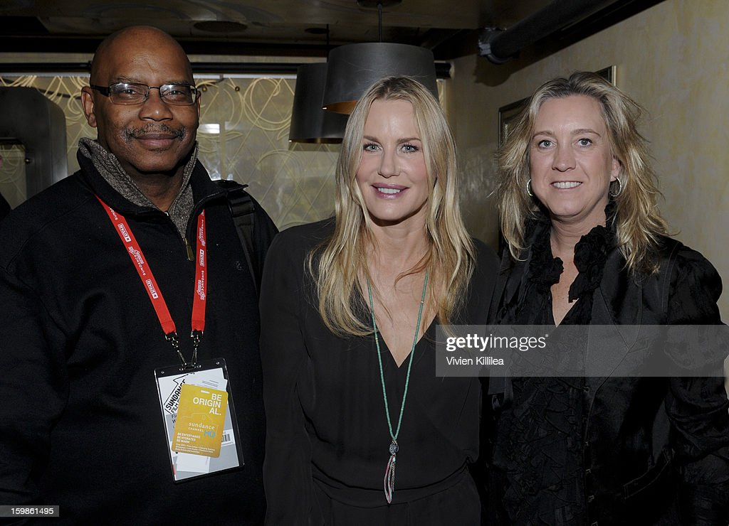 Director Floyd Webb, actress <a gi-track='captionPersonalityLinkClicked' href=/galleries/search?phrase=Daryl+Hannah&family=editorial&specificpeople=201860 ng-click='$event.stopPropagation()'>Daryl Hannah</a> and director Leslie Iwerks attend Focus Forward - Short Films Big Ideas Dinner - 2013 Park City on January 21, 2013 in Park City, Utah.