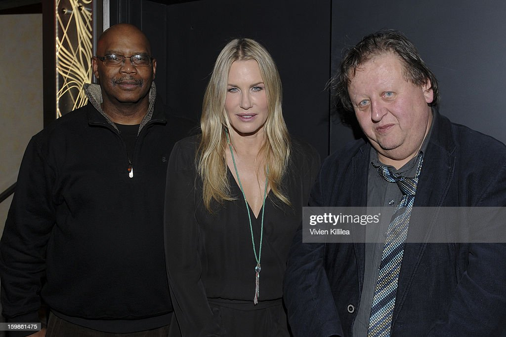 Director Floyd Webb, actress <a gi-track='captionPersonalityLinkClicked' href=/galleries/search?phrase=Daryl+Hannah&family=editorial&specificpeople=201860 ng-click='$event.stopPropagation()'>Daryl Hannah</a> and director Peter Wintonick attend Focus Forward - Short Films Big Ideas Dinner - 2013 Park City on January 21, 2013 in Park City, Utah.
