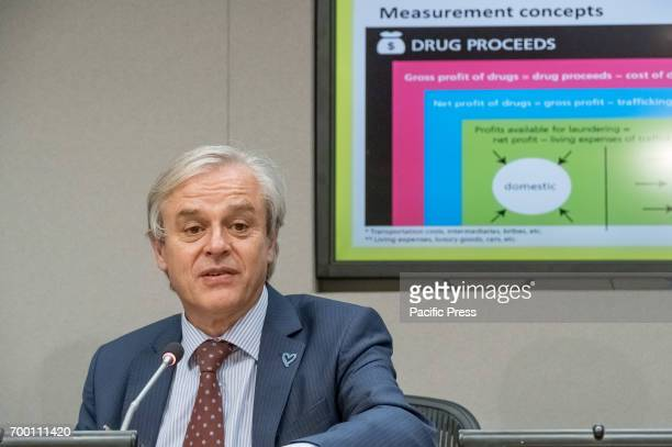 Director for Policy Analysis and Public Affairs JeanLuc Lemahieu is seen during the press briefing On the occasion of the launch of the 2017 World...