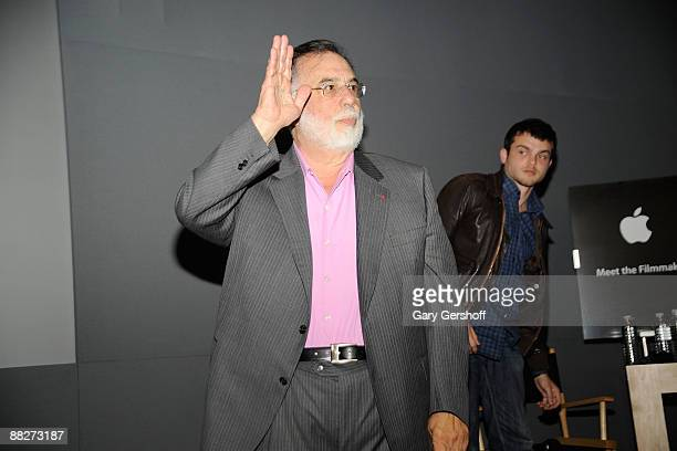 Director Francis Ford Coppola and actor Alden Ehrenreich visit the Apple Store in Soho on June 6 2009 in New York City