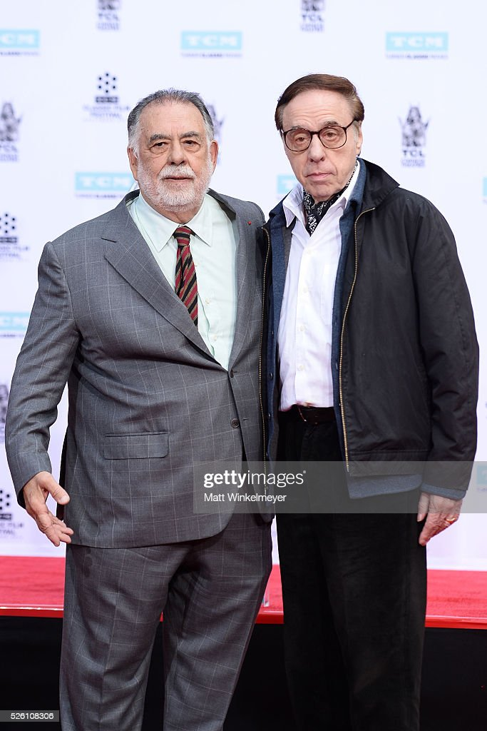 Director <a gi-track='captionPersonalityLinkClicked' href=/galleries/search?phrase=Francis+Ford+Coppola&family=editorial&specificpeople=204241 ng-click='$event.stopPropagation()'>Francis Ford Coppola</a> (L) and writer/director <a gi-track='captionPersonalityLinkClicked' href=/galleries/search?phrase=Peter+Bogdanovich&family=editorial&specificpeople=208149 ng-click='$event.stopPropagation()'>Peter Bogdanovich</a> pose for a photo as TCM honors Academy Award winning filmmaker <a gi-track='captionPersonalityLinkClicked' href=/galleries/search?phrase=Francis+Ford+Coppola&family=editorial&specificpeople=204241 ng-click='$event.stopPropagation()'>Francis Ford Coppola</a> with Hand/Footprint Ceremony at TCL Chinese Theatre IMAX on April 29, 2016 in Hollywood, California.