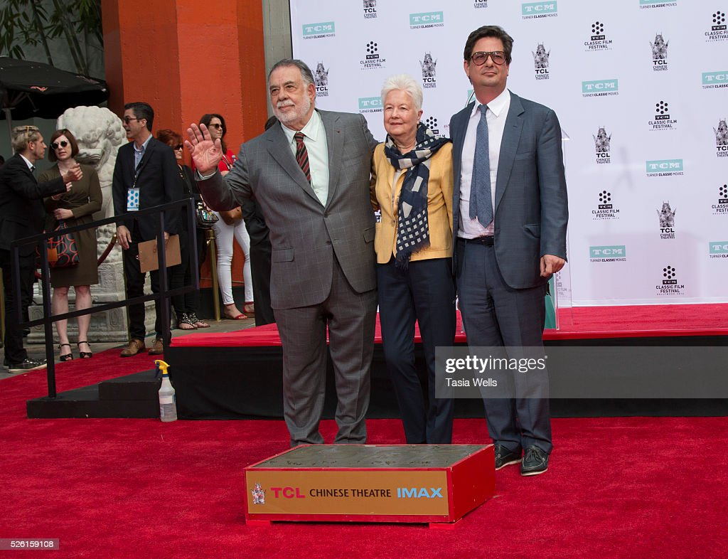 Director <a gi-track='captionPersonalityLinkClicked' href=/galleries/search?phrase=Francis+Ford+Coppola&family=editorial&specificpeople=204241 ng-click='$event.stopPropagation()'>Francis Ford Coppola</a>, Eleanor Coppola and director <a gi-track='captionPersonalityLinkClicked' href=/galleries/search?phrase=Roman+Coppola&family=editorial&specificpeople=615097 ng-click='$event.stopPropagation()'>Roman Coppola</a> attend TCM Honors Academy Award winning filmmaker <a gi-track='captionPersonalityLinkClicked' href=/galleries/search?phrase=Francis+Ford+Coppola&family=editorial&specificpeople=204241 ng-click='$event.stopPropagation()'>Francis Ford Coppola</a> with a Hand and Footprint Ceremony at TCL Chinese Theatre IMAX on April 29, 2016 in Hollywood, California.