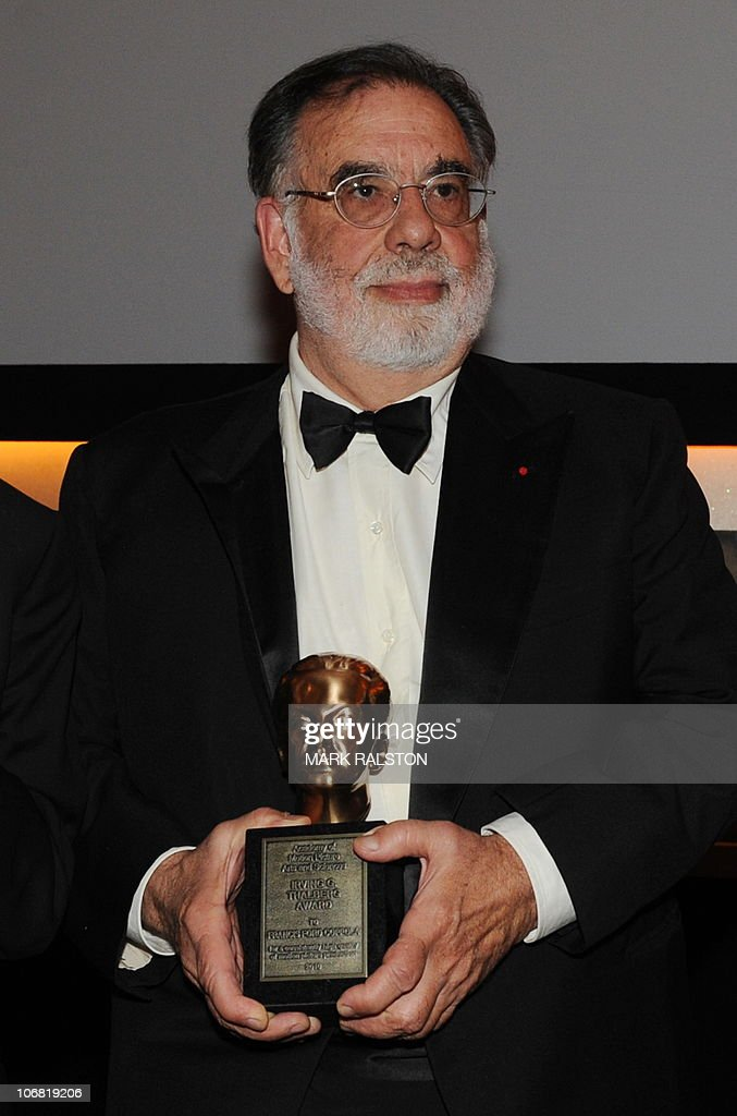Director Francis Ford Coppola holds his Irving G. Thalberg Memorial Award, or Thalberg bust, at the 2010 Oscars Governors Awards at the Hollywood and Highland Center in Hollywood on November 13, 2010. AFP PHOTO/Mark RALSTON
