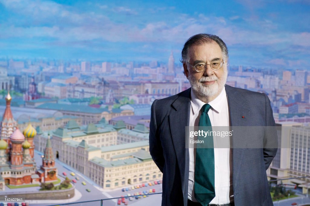 Director, Francis Ford Coppola poses in front of a panorama of the Russian capital at Ukraine Hotel before the 'Twixt' premiere at the Pioneer cinema on April 04, 2012 in Moscow, Russia.