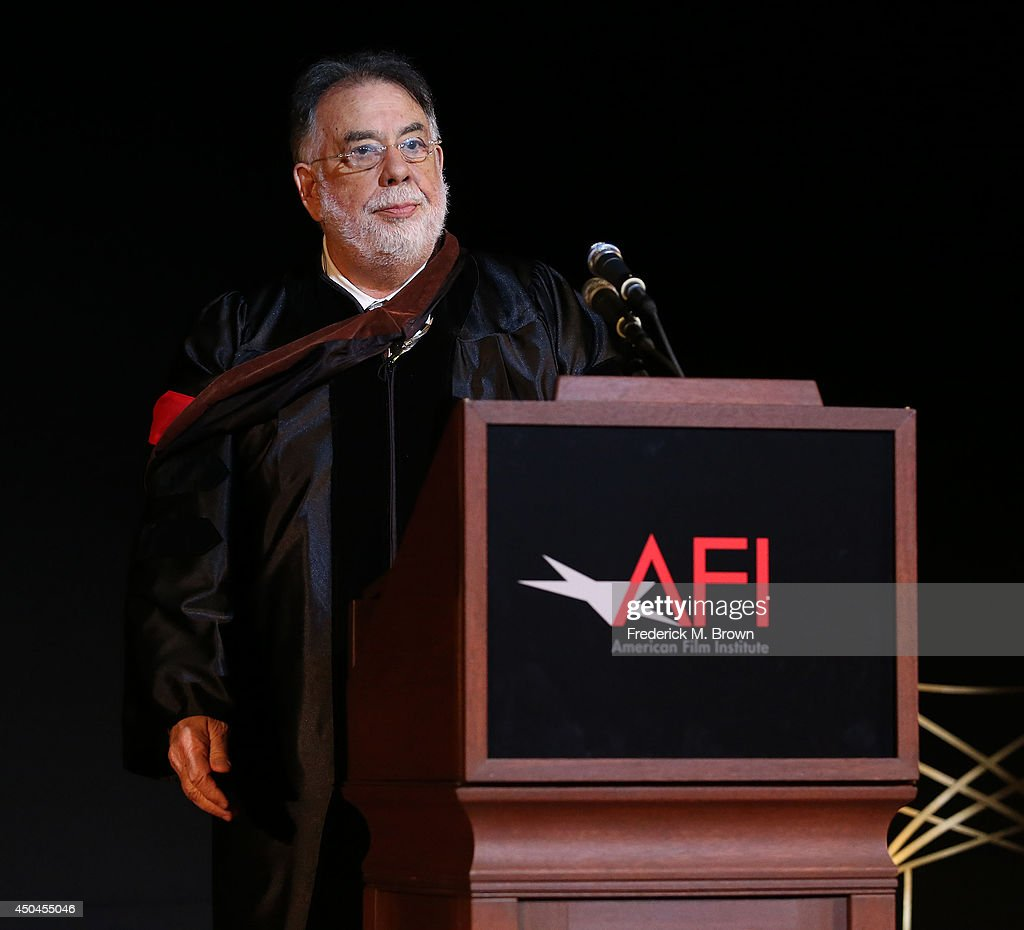 Director <a gi-track='captionPersonalityLinkClicked' href=/galleries/search?phrase=Francis+Ford+Coppola&family=editorial&specificpeople=204241 ng-click='$event.stopPropagation()'>Francis Ford Coppola</a> speaks during the 2014 AFI Conservatory Commencement Ceremony at the TCL Chinese Theatre on June 11, 2014 in Hollywood, California.