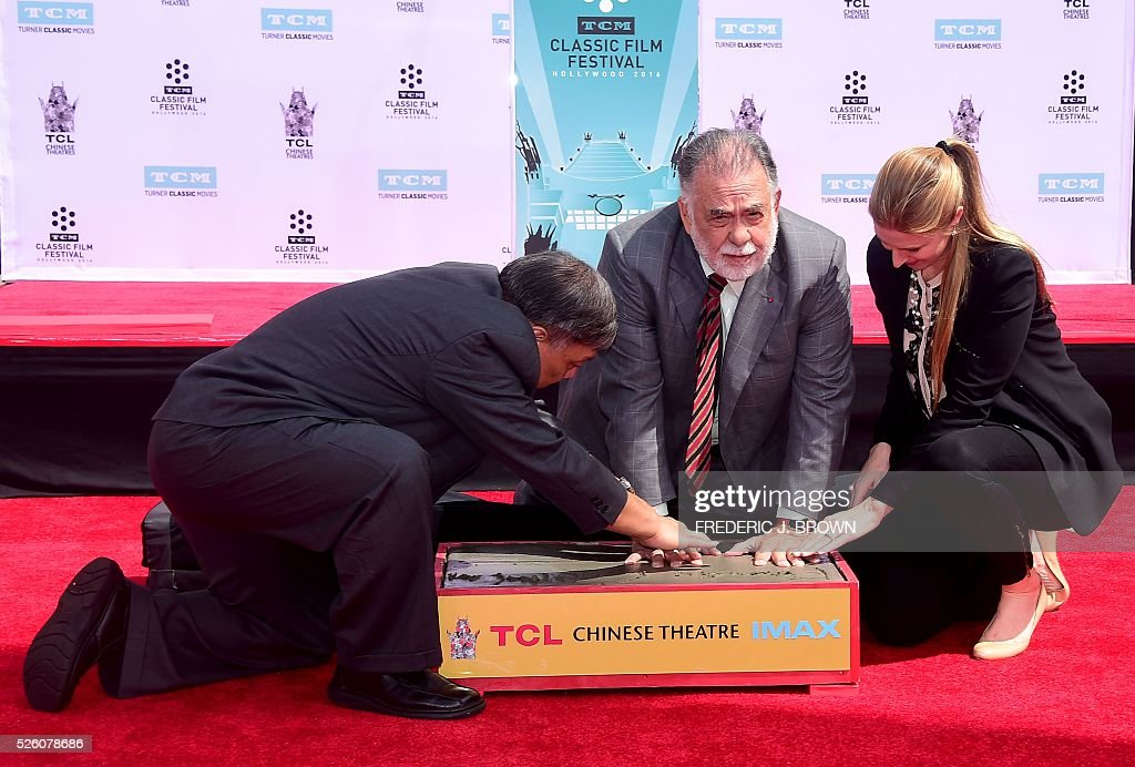 Director Francis Ford Coppola takes part in his Hand and Footprint Ceremony in front of the TCL theater in Hollywood, California on April 29, 2016. The US film director was honored as part of the 2016 TCM Classic Film Festival. / AFP / FREDERIC