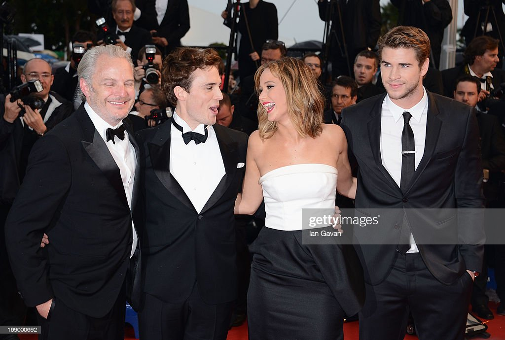 Director Francis Lawrence, Sam Claflin, Jennifer Lawrence and Liam Hemsworth attends 'Jimmy P. (Psychotherapy Of A Plains Indian)' Premiere during the 66th Annual Cannes Film Festival at Grand Theatre Lumiere on May 18, 2013 in Cannes, France.