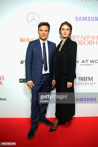 Director Francois Ozon and actress Marine Vacth attend a premiere of 'Amant Double' film at Barvikha Luxury Village concert hall on October 16 2017...