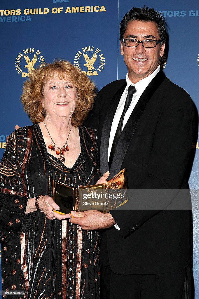 Director Frank Capra III (R) and Susan Zwerman, winner of the Frank Capra Achievement Award, pose in the press room at the 65th Annual Directors Guild Of America Awards at The Ray Dolby Ballroom at Hollywood & Highland Center on February 2, 2013 in Hollywood, California.