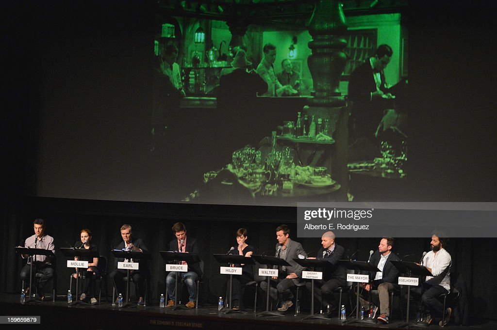 Director Fred Savage, actors Mae Whitman, Fred Willard, Adam Scott, Anne Hathaway, Jason Bateman, Paul Scheer, Nick Kroll and Jason Mantzoukas attend a Film Independent live read at Bing Theatre At LACMA on January 17, 2013 in Los Angeles, California.