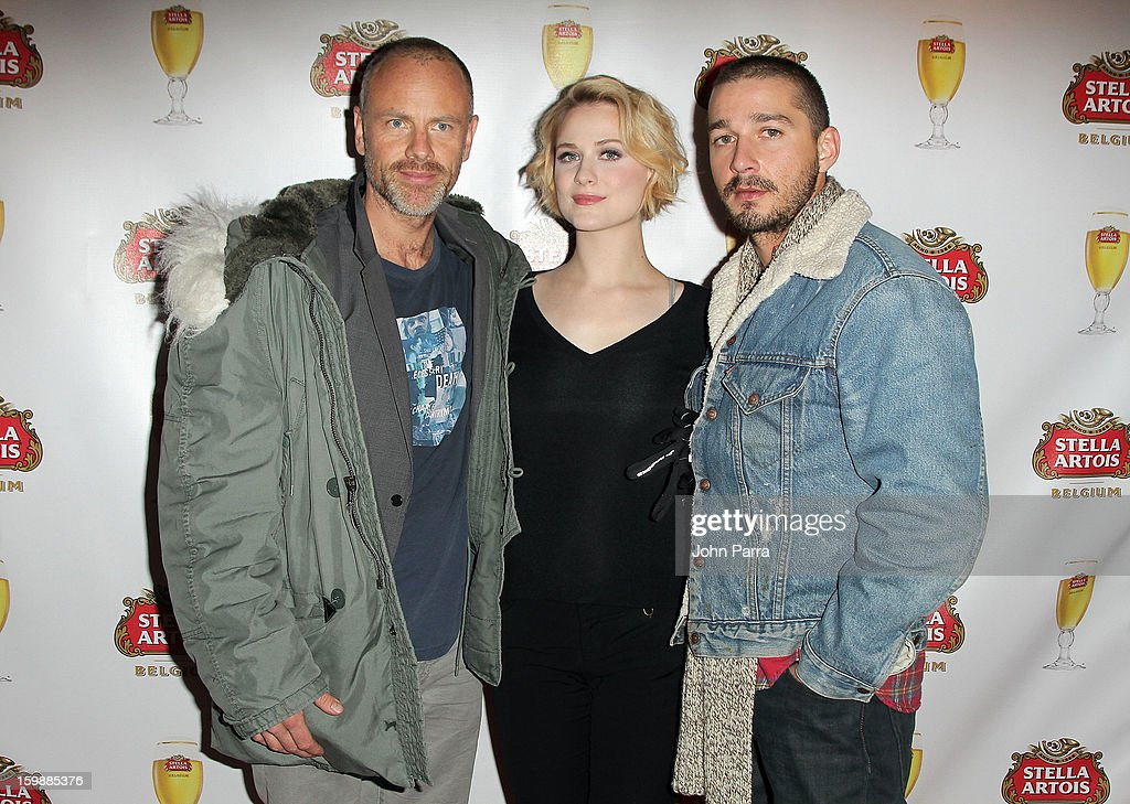 Director Fredrik Bond with actors Evan Rachel Wood and Shia LaBeouf attend the Stella Artois hosted Press Junket for The Necessary Death of Charlie Countryman on January 22, 2013 in Park City, Utah.