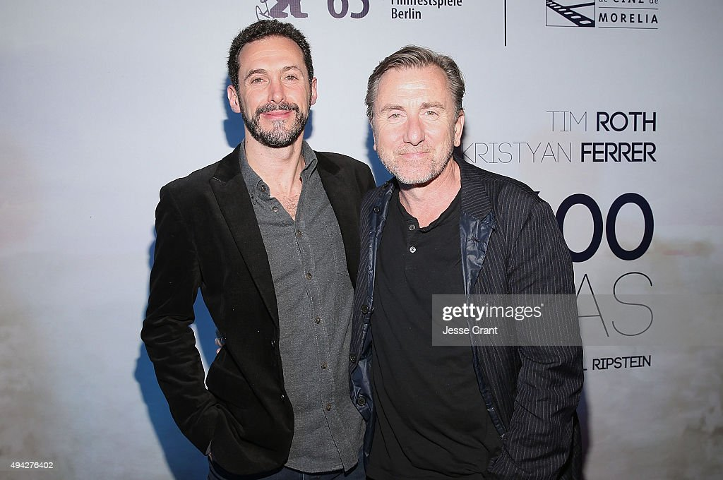 Director Gabriel Ripstein and actor Tim Roth attend the Mexican premiere of '600 Millas'during The 13th Annual Morelia International Film Festival on October 25, 2015 in Morelia, Mexico.