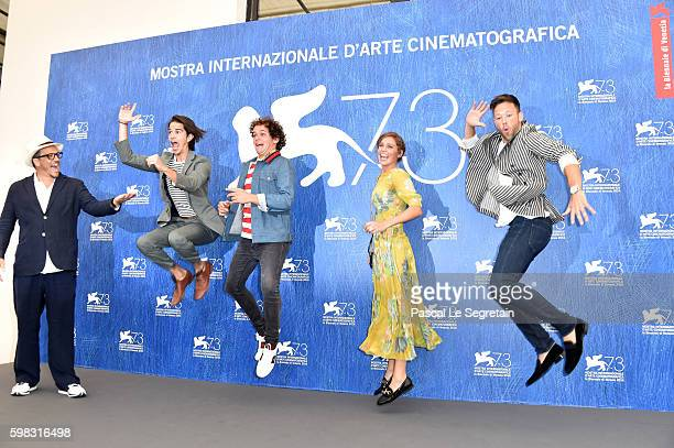 Director Gabriele Muccino actors Joey Haro Brando Pacitto Matilda Lutz and Taylor Frey attend a photocall for 'L'Estate Addosso Summertime' during...