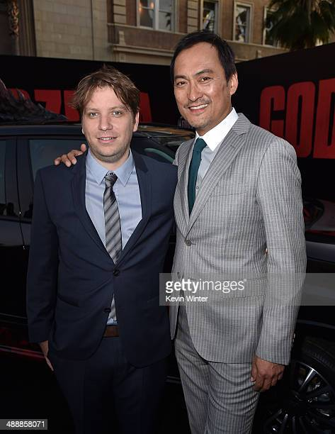 Director Gareth Edwards and actor Ken Watanabe attend the premiere of Warner Bros Pictures and Legendary Pictures' 'Godzilla' at Dolby Theatre on May...