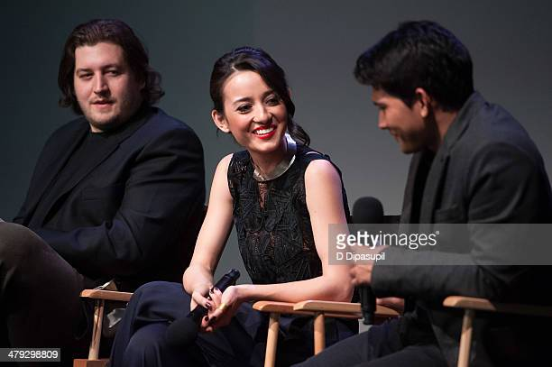 Director Gareth Evans actress Julie Estelle and actor Iko Uwais attend 'Meet The Filmmakers' at Apple Store Soho on March 17 2014 in New York City