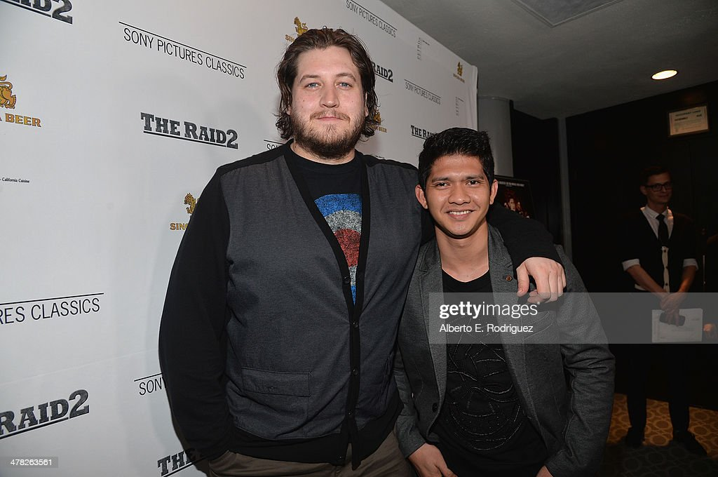 Director Gareth Evans and actor <a gi-track='captionPersonalityLinkClicked' href=/galleries/search?phrase=Iko+Uwais&family=editorial&specificpeople=8212160 ng-click='$event.stopPropagation()'>Iko Uwais</a> arrive to the premiere of Sony Pictures Classics' 'The Raid 2' at Harmony Gold Theatre on March 12, 2014 in Los Angeles, California.
