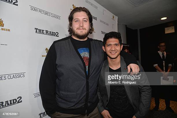Director Gareth Evans and actor Iko Uwais arrive to the premiere of Sony Pictures Classics' 'The Raid 2' at Harmony Gold Theatre on March 12 2014 in...