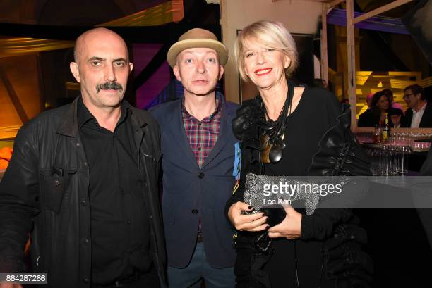 R 20 Director Gaspard Noe Fabrice Bousteau and Colette Barbier attend the 'Bal Jaune Elastique 2017' Dinner Party at Palais Brongniart on October 20...