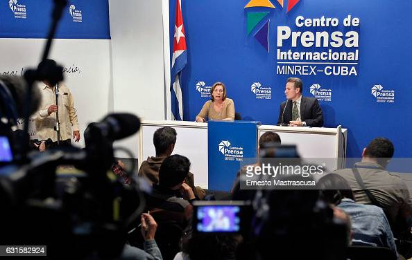 Director General for the United States of the Ministry of Foreign Affairs of Cuba Josefina Vidal talks to the media during press conference on the...