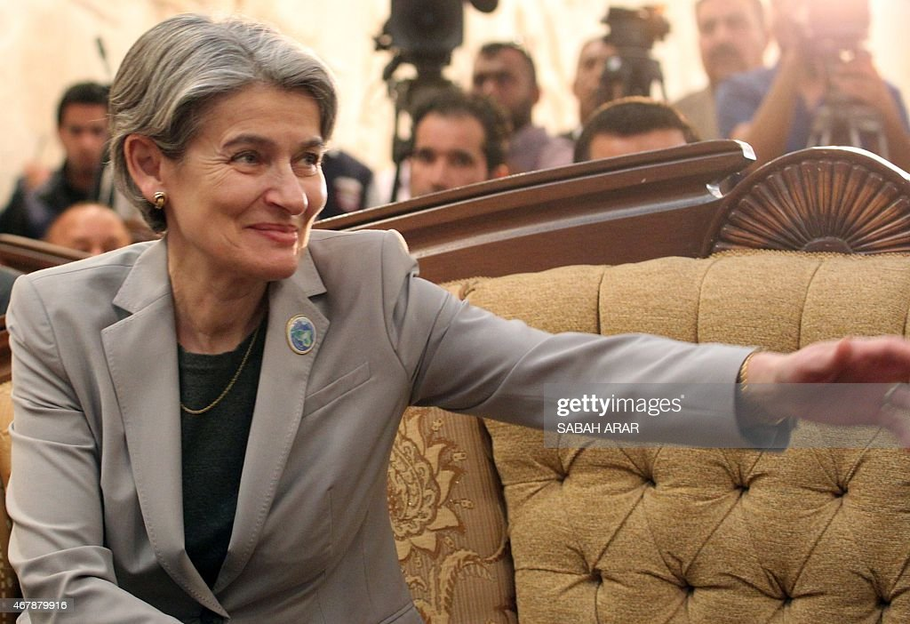 Director General <a gi-track='captionPersonalityLinkClicked' href=/galleries/search?phrase=Irina+Bokova&family=editorial&specificpeople=6324408 ng-click='$event.stopPropagation()'>Irina Bokova</a> gestures at the National Museum in Baghdad on March 28, 2015, as she visits the Iraqi capital to boost global efforts to preserve Iraq's heritage, which has been systematically targeted by the Islamic State group.