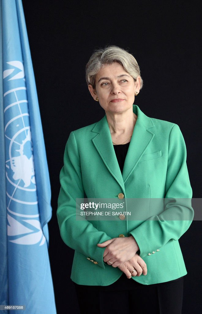 Director General <a gi-track='captionPersonalityLinkClicked' href=/galleries/search?phrase=Irina+Bokova&family=editorial&specificpeople=6324408 ng-click='$event.stopPropagation()'>Irina Bokova</a> poses on April 10, 2015 at the UNESCO headquarters in Paris.