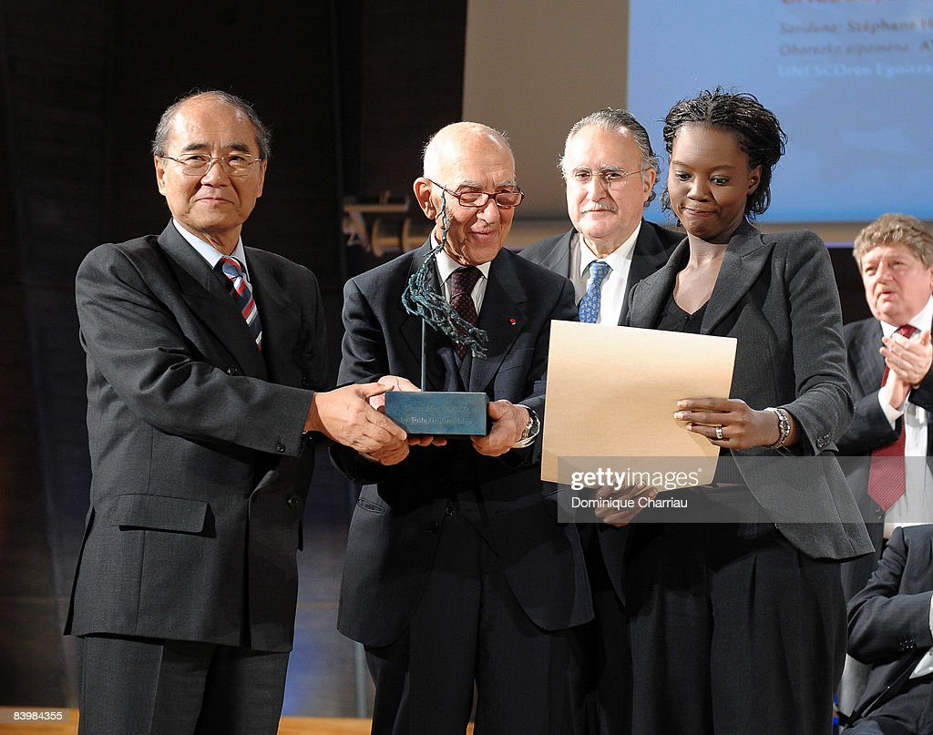 Director General Koichiro Matsuura of UNESCO, Mayor Inaki Azkuna of Bilbao, Laureate for the UNESCO/Bilbao Prize for the Promotion of a Culture of Human Rights Stephane Hessel and French Secretary of State for Foreign Affairs and Human Rights Rama Yade attend the award ceremony of the UNESCO/Bilbao Prize for the Promotion of a Culture of Human Rights on December 10, 2008 in Paris, France.