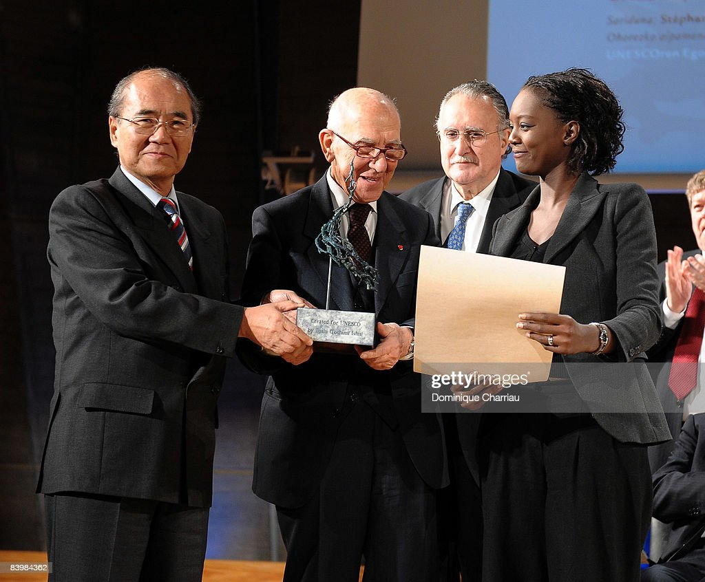 Director General Koichiro Matsuuraof UNESCO, Laureate for the UNESCO/Bilbao Prize for the Promotion of a Culture of Human Rights Stephane Hessel, Mayor Inaki Azkuna of Bilbao and French Secretary of State for Foreign Affairs and Human Rights Rama Yade during the award ceremony of the UNESCO/Bilbao Prize for the Promotion of a Culture of Human Rights on December 10, 2008 in Paris, France.