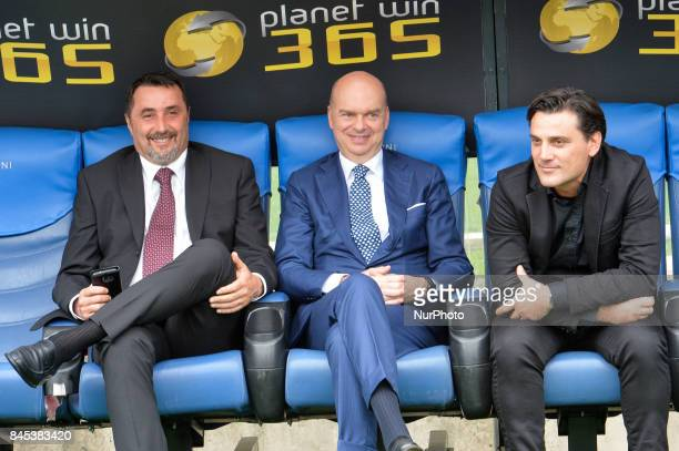 Director General of AC Milan Marco Fassone and Chief Sport manager of AC Milan Massimiliano Mirabelli before the Italian Serie A football match SS...