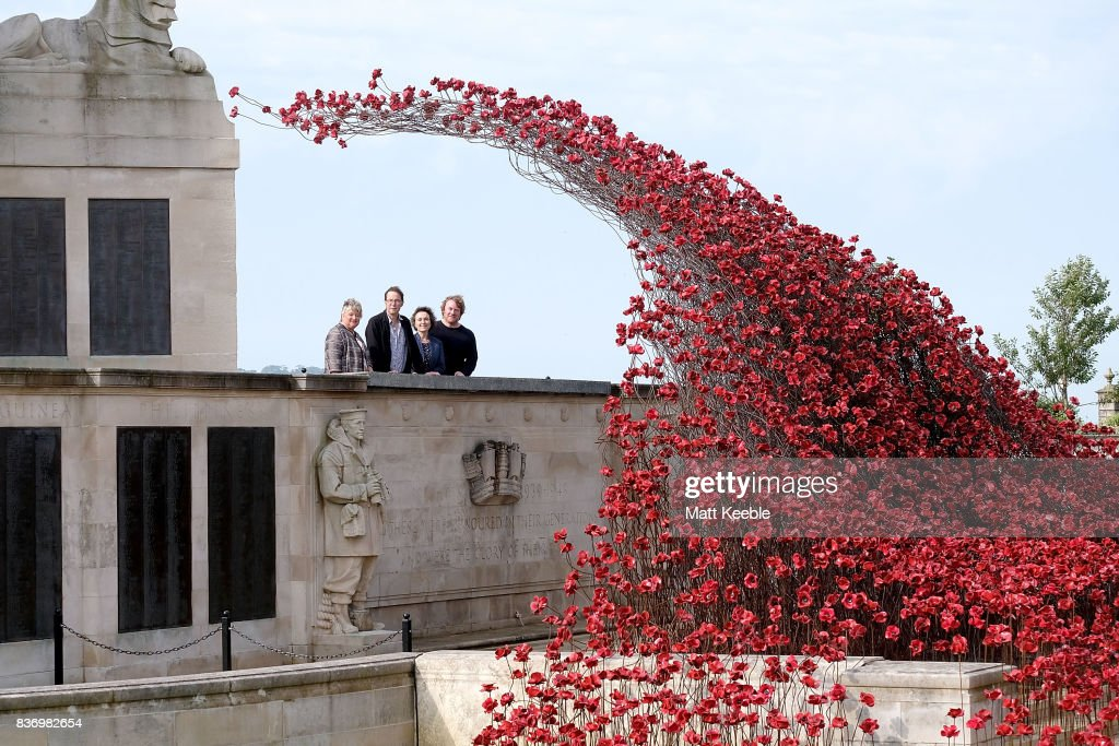 Director General of CWGC Victoria Wallace, Designer Tom Piper, Artist Paul Cummins and Director of 14-18 NOW Jenny Waldman attend the poppy sculpture 'Wave' opening at the CWGC Naval Memorial, as part of a UK wide tour organised by 14-18 NOW on August 22, 2017 in Plymouth, England.
