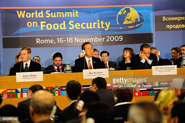 Director General of the FAO Jacques Diouf Secretary General of the United Nations Ban Kimoon and Italian Prime Minister Silvio Berlusconi during the...