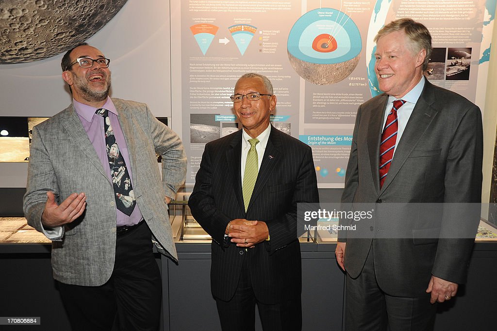 Director general of the Naturhistorisches Museum Christian Koeberl, Administrator of NASA Charles Bolden and U.S. Ambassador to Austria William C. Eacho pose for a photograph during the handover of moon rocks from NASA Apollo Missons 15 and 17 at the Natural History Museum on June 18, 2013 in Vienna, Austria. The National Aeronautics and Space Administration (NASA) is loaning three samples of moon rocks long term to the Naturhistorisches Museum.