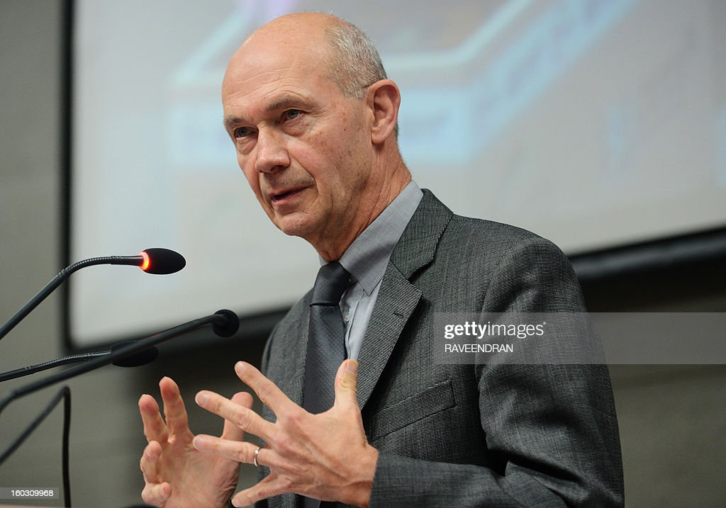 Director General of the World Trade Organisation (WTO), Pascal Lamy speaks during a meeting with the Federation of Indian Chambers of Commerce and Industry (FICCI) in New Delhi on January 29, 2013. Lamy spoke at the FCCI to discuss the WTO and multilateral trading systems.