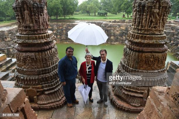 Director General of UNESCO Irina Bokova and UNESCO's New Delhi Director Shigeru Aoyagi pose for a picture with Senior Archaeologist of the...