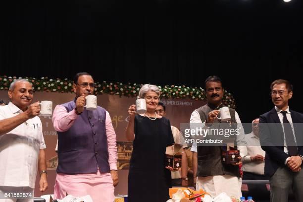 Director General of UNESCO Irina Bokova Gujarat state Chief Minister Vijaybhai Rupani Gujarat's Deputy Chief Minister Nitinbhai Patel and Ahmedabad...
